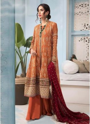Attractive Orange Color Georgette Base Sequins And Zari Base Pakistani Palazzo Suit