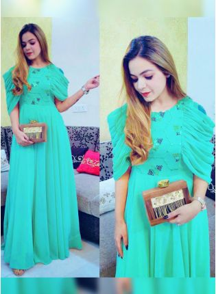 Stylish Aqua Turquoise Colored Super Comfortable Designer Gown For Any Occasion