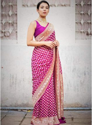 Buy Dramatic Bright Pink Jacquard Silk Base Foil Printed Saree