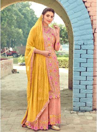 Decent Peach Color With Georgette Base Salwar Kameez