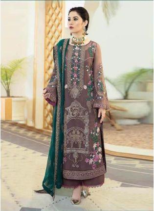 Elegant Ice Wine Color Georgette Base Heavy Work Pakistani Style Palazzo Suit