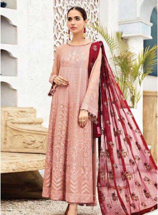 Enchanting Georgette Fabric Peach Color Pakistani Salwar Kameez With Dupatta