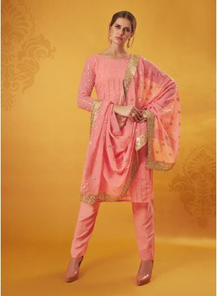 Peach Colored Georgette Base Pant style Suit With Zari