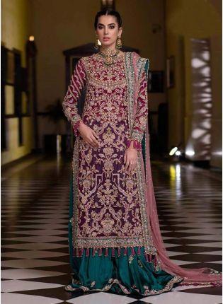 Admirable Dark Pink Color Soft Net Base Zari Work Wedding Wear Palazzo Suit