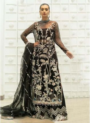 Pakistani Look Black Color Soft Net Base Zari Work Base Palazzo Suit