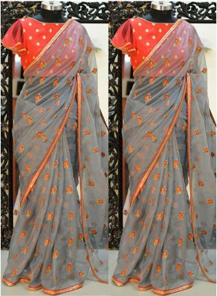 Stylish Grey Resham And Organza Fabric Embroidered Saree