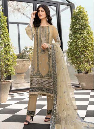 Beige Color Georgette Base Circular Flounce Sleeves Stone Work Pakistani Suit