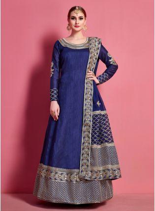 Top Navy Blue Full Length Designer Dress