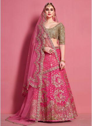 Decent Stylish Pink Heavily Embroidered Art Silk Base Lehenga Choli