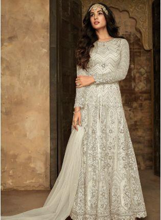 Shop White Zari Resham Soft Net Wedding Slit Cut Pakistani Salwar Suit