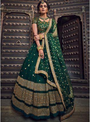 Iconic Green Soft Net Zari Work Sangeet Flared Lehenga Choli