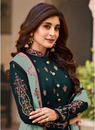 Splendid Green Zari Resham Georgette Sangeet Straight Churidar Salwar Suit