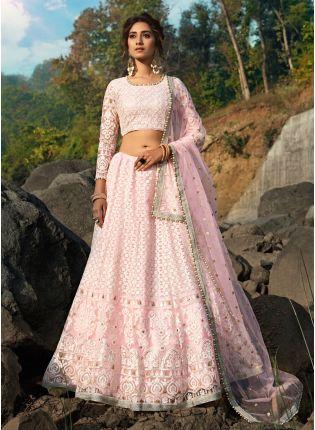 Affordable Fantastic Baby Pink Soft Net Base Sequin Zari And Resham Lehenga Choli