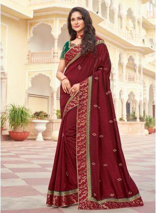 Maroon Color Sweetheart Neck Blouse Silk Fabric Half And Half Saree