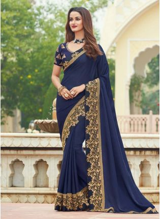 Elegant Silk Fabric Navy Blue Color Half And Half Laced Border Saree