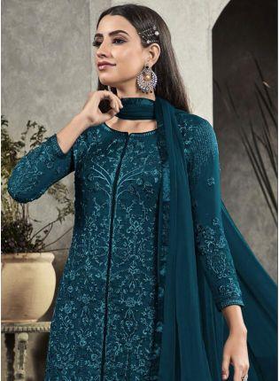 Decent Green Resham Georgette Trouser Churidar Salwar Suit For Festivals