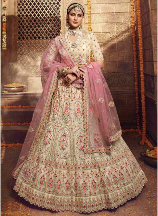 girl in Cream Stonework Flared Lehenga Choli