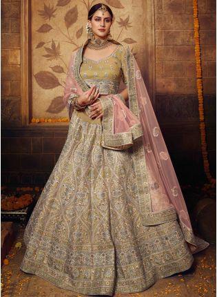 girl in Golden Resham Sequin Flared Lehenga Choli