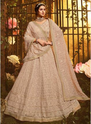 bride in Brown Resham Flared Lehenga Choli