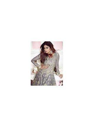 Trendy Grey Stonework And Raw Silk Festival Anarkali Salwar Suit