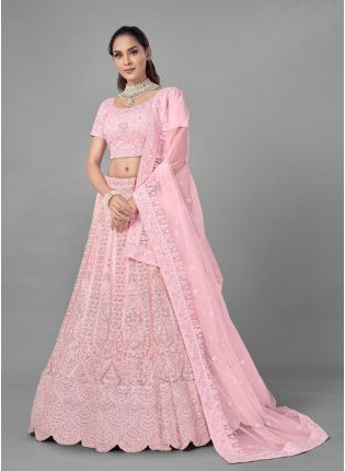 Pleasing Pink Color Soft Net Base Heavy Work Bridal Wear Lehenga Choli