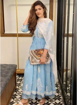 Stylish Party Wear Designer Sky Blue Palazzo Suit