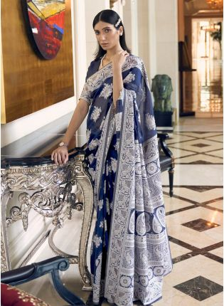 Attractive Royal Blue Color Linen Fabric Base Lucknowni Work Designer Saree