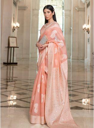Classie Peach Color Linen Base Lucknowi Work Designer Look Saree