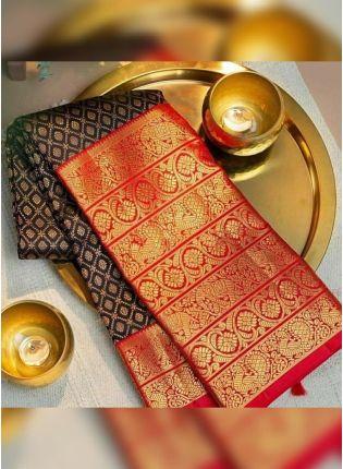 Red Silk Waving on Black Silk Festive Saree
