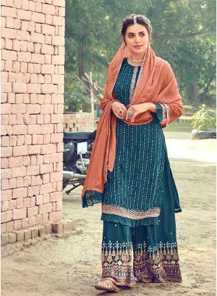 Decent Teal Blue Color With Georgette Base Salwar Kameez
