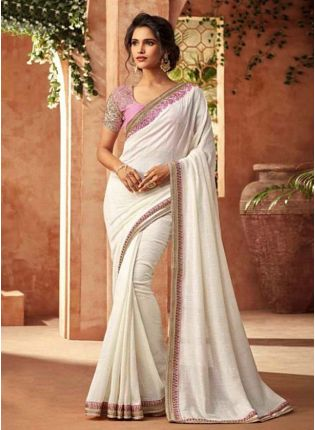 White Color Georgette Base Sequins And Stone Work Party Wear  Saree