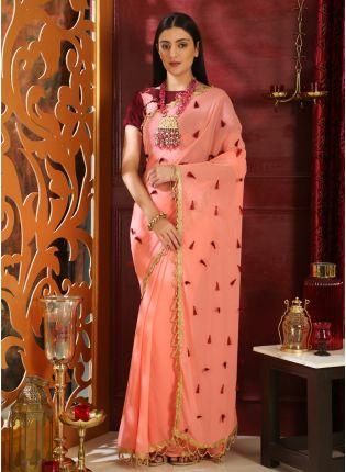Best Pink Resham Moti Sequins Georgette Velvet Saree