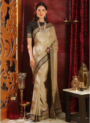 Decent Beige Sequins Lace Silk And Velvet Saree