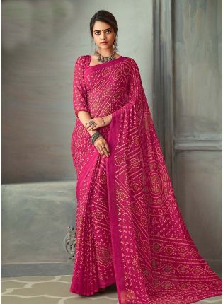 Rear Rani Pink Color Bandhej Printed Chiffon Base Saree