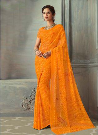 Outstanding Orange Color Bandhej Printed Chiffon Base Saree