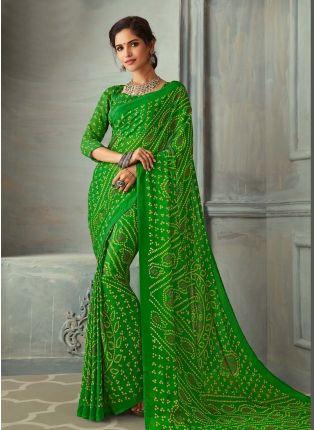 Grateful Green Color Bandhej Printed Chiffon Base Saree
