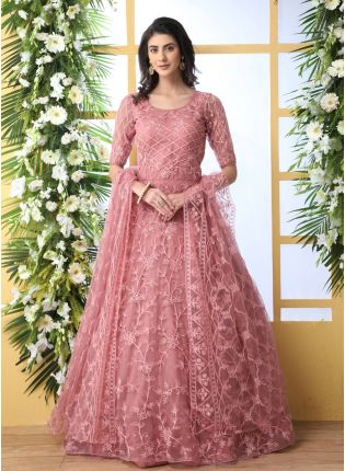 Iconic Remarkable Peach Pink Soft Net Base Festive Wear Designer Gown