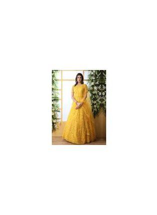 Buy Stunning Mustard Yellow Soft Net Ethnic Ceremonial Designer Gown