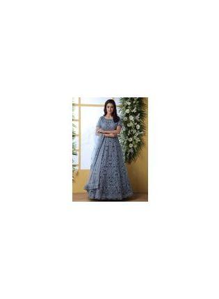 Stylish Elegant Cloudy Grey Soft Net Base Ethnic Festive Wear Designer Gown