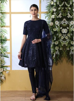 Iconic Blue Resham Sequins And Georgette Salwar Suit