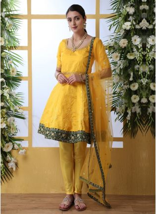 Shop Yellow Resham Sequins And Art Silk Salwar Suit