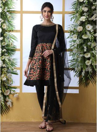 Splendid Black Resham Sequins And Art Silk Salwar Suit