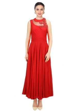 Best Red Designer Embroidered Gown For Women