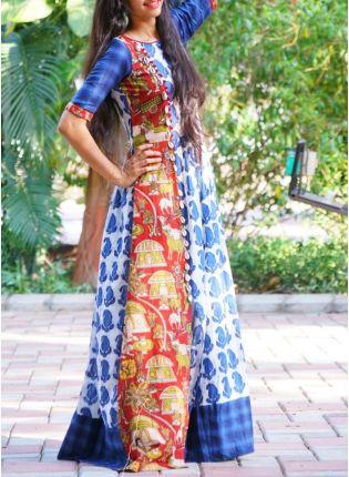 Top Blue Color Kalamkari Pure Rayon Kurti