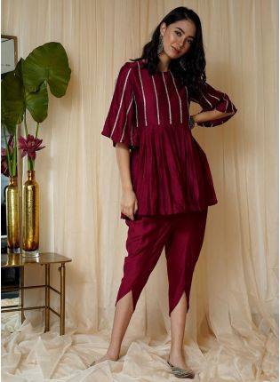 Decent Look Maroon Color Dhoti Style Silk Base Suit