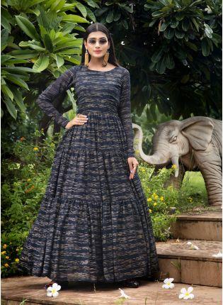girl in Navy Blue Foil Print Anarkali Salwar Suit