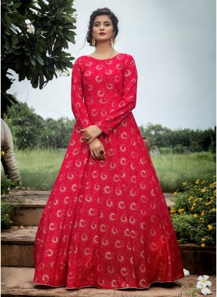 girl in Rani Foil Print Anarkali Salwar Suit