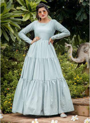 girl in Blue Foil Print Anarkali Salwar Suit