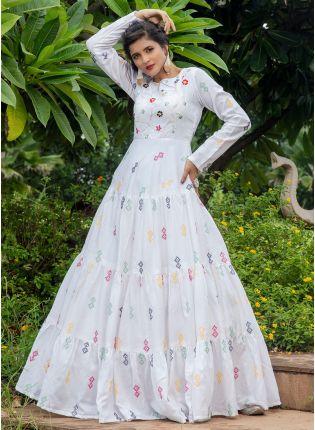 girl in White Resham Anarkali Salwar Suit