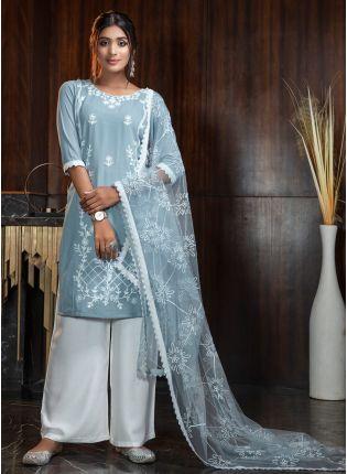 Sky Resham Rayon Soft Net Palazzo Salwar Suit
